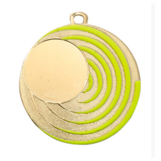 M223 Glow in the Dark Medaille Goud 50 mm met labelprint